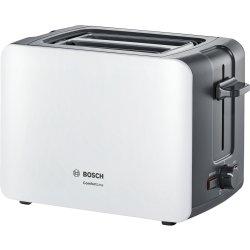 Electrocasnice mici Prajitor de paine Bosch TAT6A111 ComfortLine compact, suport chifle, sertar firimituri, alb-gri inchis