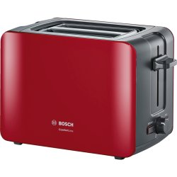 Electrocasnice mici Prajitor de paine Bosch TAT6A114 ComfortLine compact, suport chifle, sertar firimituri, rosu-antracit