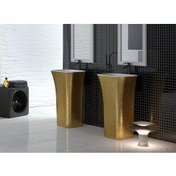 Lavoare baie Lavoar pe pardoseala Besco Assos Glam 40x50x85cm, compozit mineral, Gold