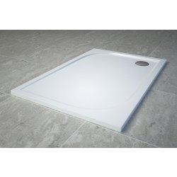 Cadita de dus dreptunghiulara SanSwiss Tracy WAA, 80x120cm slim, marmura sintetica, alb