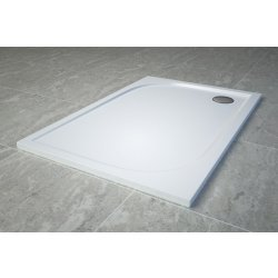 Cadita de dus dreptunghiulara SanSwiss Tracy WAA, 90x120cm slim, marmura sintetica, alb