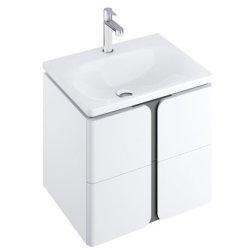 Dulapuri si blaturi pentru lavoare baie Dulap baza suspendat Ravak SD Balance 50cm cu doua sertare soft close, alb-antracit