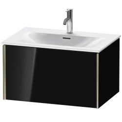 Dulap baza Duravit XViu 71x48cm, un sertar cu tehnologie Tip-On, negru lucios cu margini champagne mat