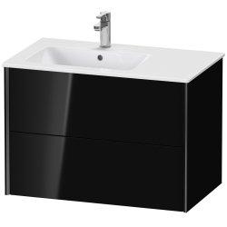 Dulap baza Duravit XViu 81x48cm, doua sertare cu tehnologie Tip-On, negru lucios cu margini negru mat