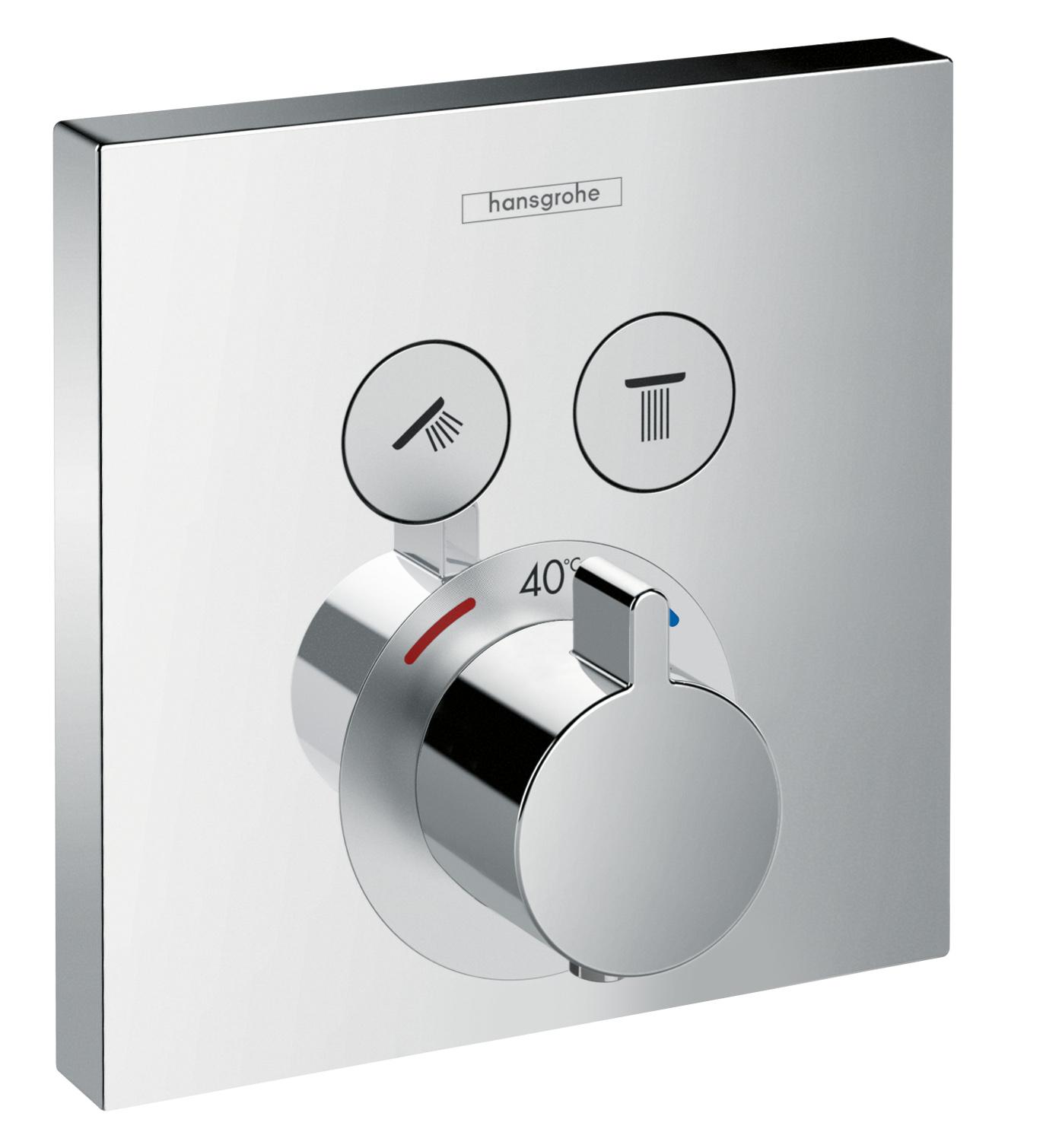 Baterie dus termostatata Hansgrohe ShowerSelect cu 2 functii montaj incastrat necesita corp ingropat imagine
