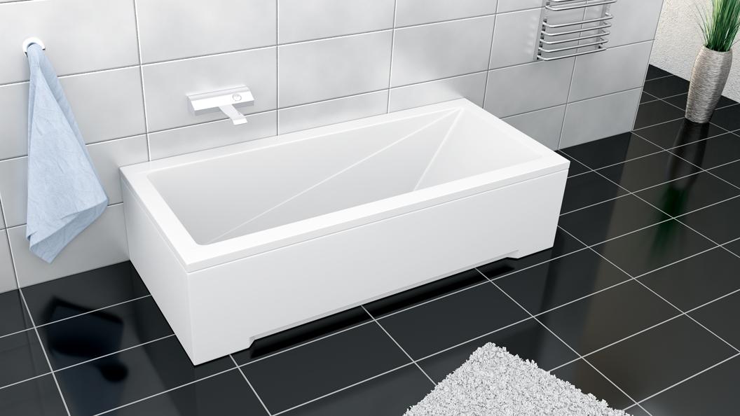 Cada baie rectangulara Besco Modern 160x70cm acril imagine