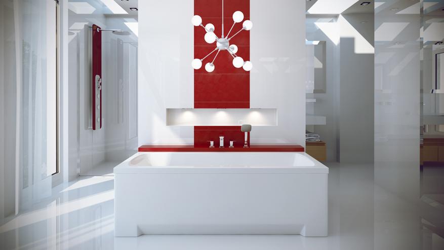 Cada baie rectangulara Besco Optima 140x70cm acril imagine
