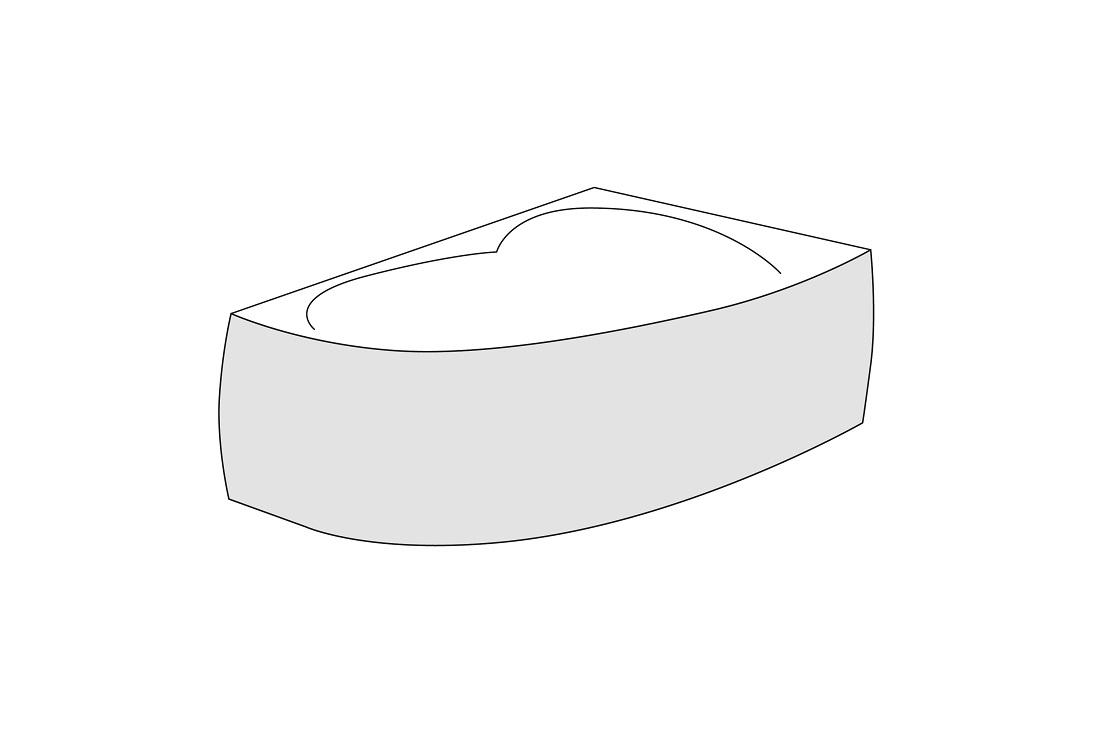Panou Frontal Dreapta Radaway Pentru Cada Asimetrica Rineia 160cm H56cm