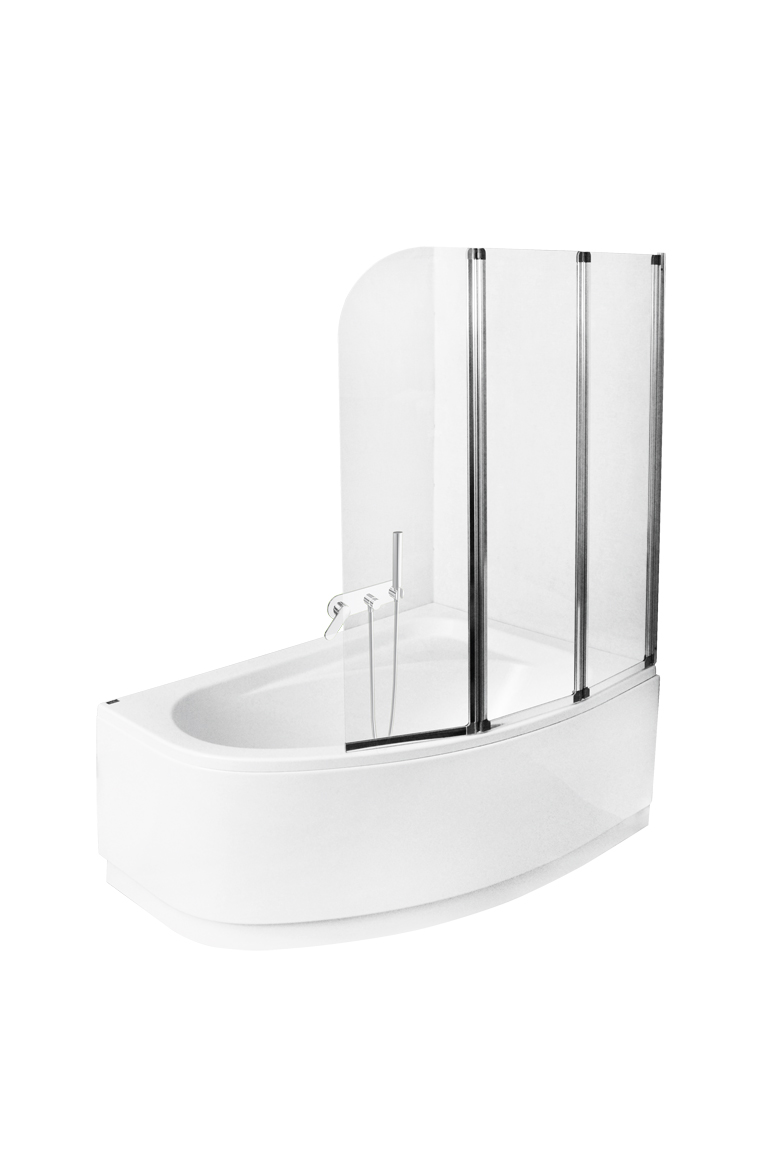 Paravan cada Besco Ambition 3 trei elemente mobile 123 5x139 cm sticla transparenta 5 mm profil crom imagine