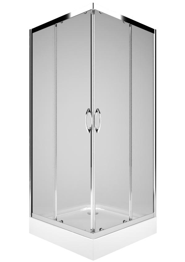 Cabina de dus patrata Kolo Rekord 90×90 profil crom lucios sticla clara 4mm