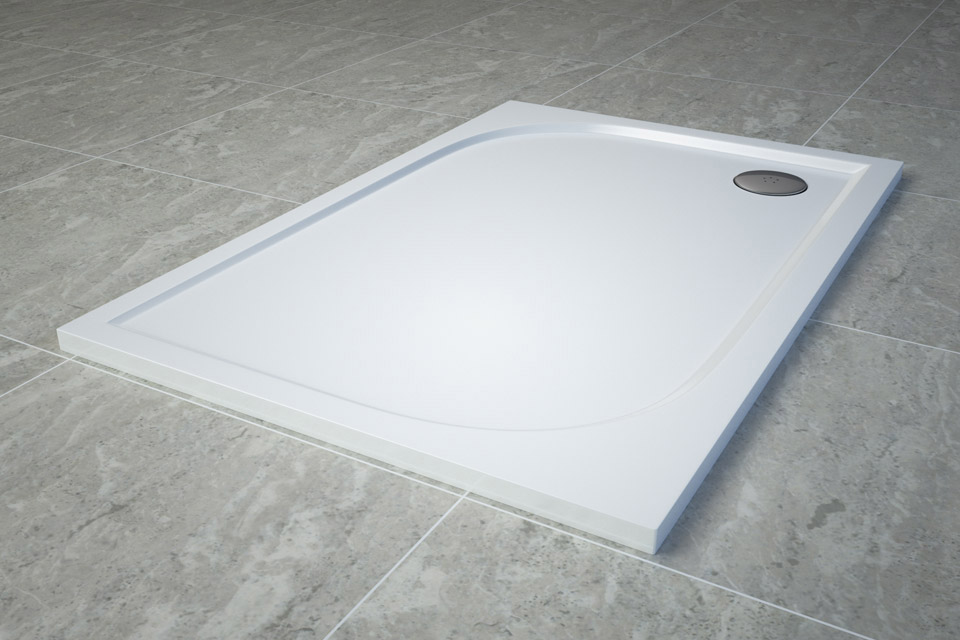 Cadita de dus dreptunghiulara SanSwiss Tracy WAA 90x120cm slim marmura sintetica alb imagine