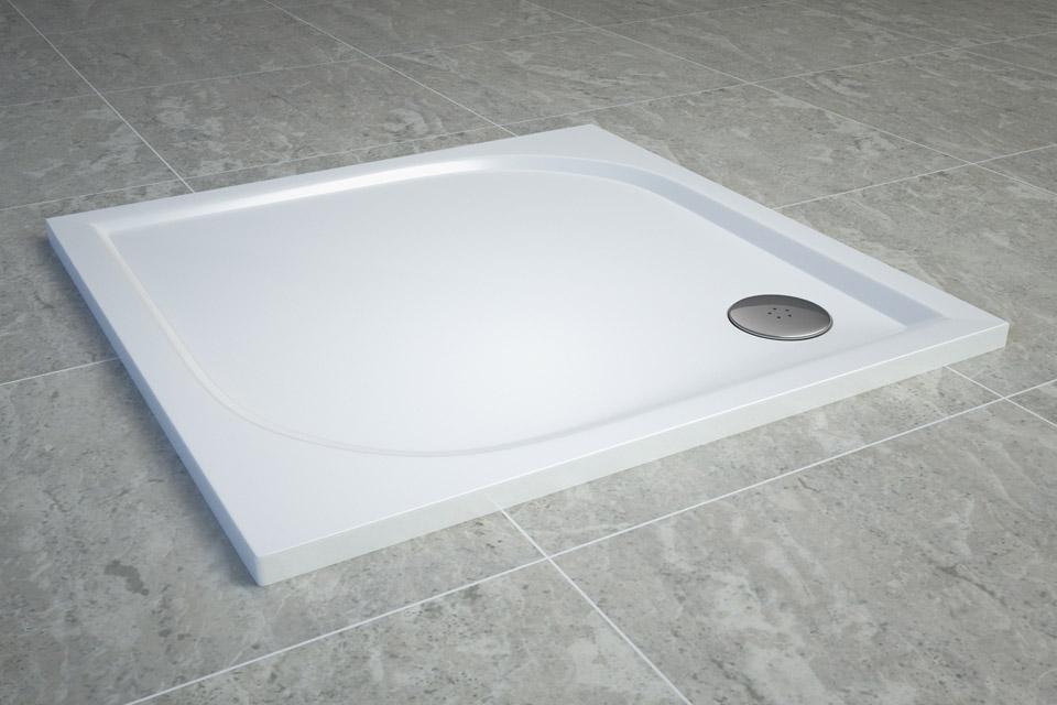 Cadita de dus SanSwiss Tracy WAQ 80x80cm slim marmura sintetica alb imagine
