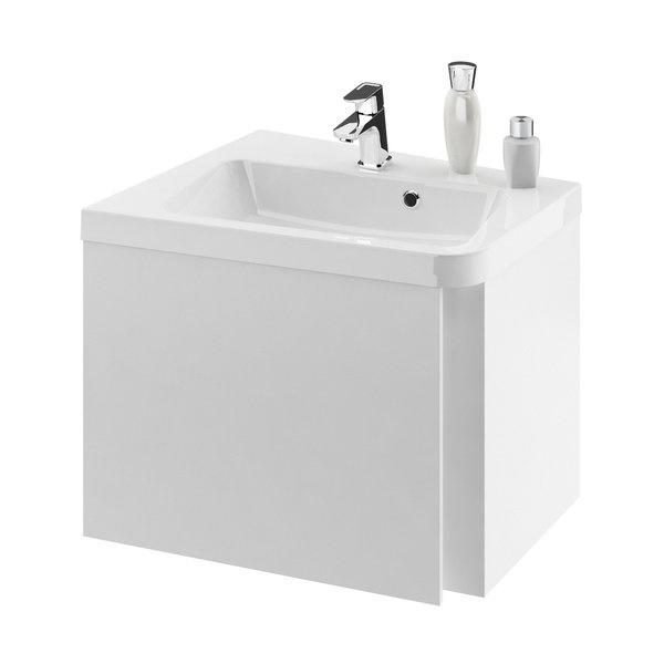 Dulap baza pentru lavoar de colt Ravak Concept 10° cu un sertar 55x48.5x45cm stanga alb imagine