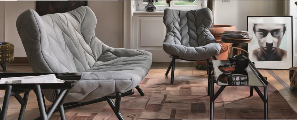 Canapea si fotoliu cu design modern Kartell Foliage design Patricia Urquiola