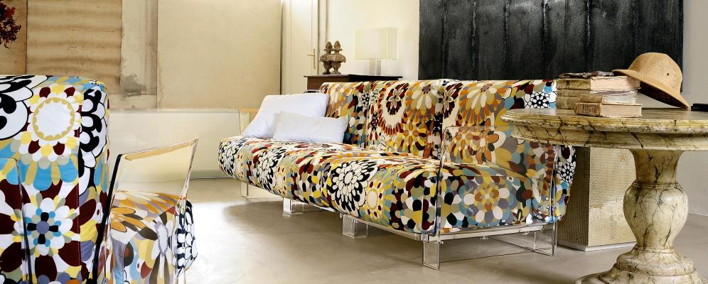 Canapea si fotoliu Kartell Pop cu tapiterie Missoni