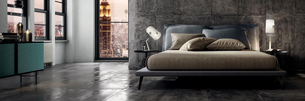 Dormitor modern in stil industrial cu gresie cu aspect metalic Diesel Living