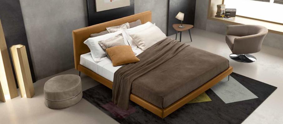 Dormitor cu pat premium din piele naturala Gamma Arredamenti