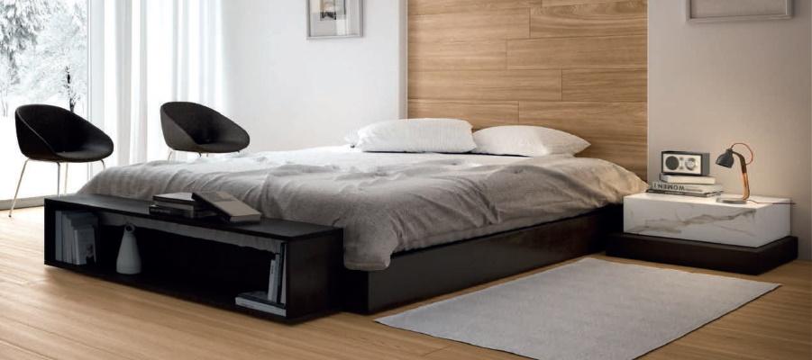 Dormitor modern cu gresie cu aspect de lemn Iris Ceramica