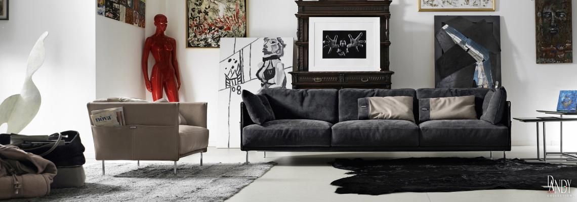 Living modern cu canapea si fotoliu Gamma Dandy Trench din piele naturala
