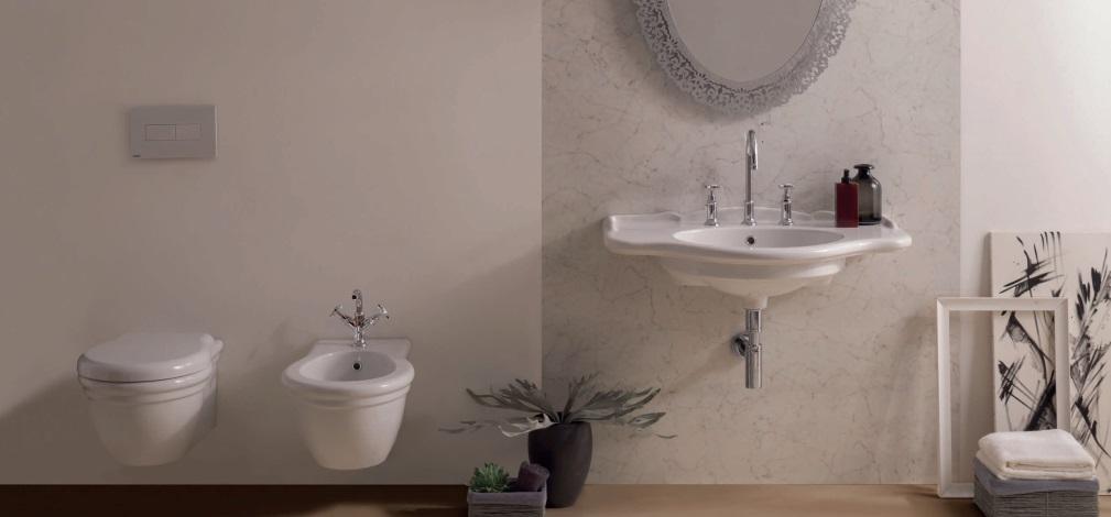 Obiecte sanitare si oglinda de baie cu design clasic Globo Paestum