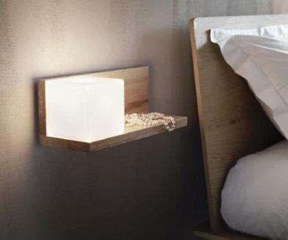 Veioza din lemn natural pentru dormitor Ideal Lux