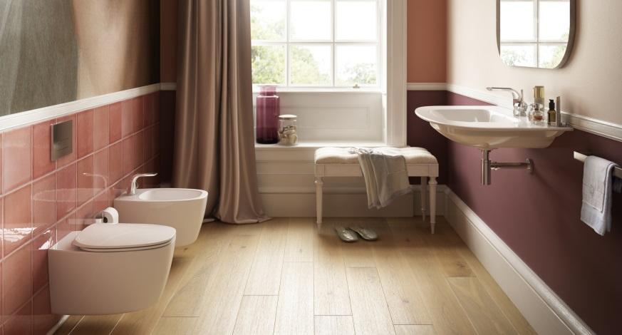 Baie colorata in nuante pastelate cu lavoar, WC si bideu Ideal Standard DEA