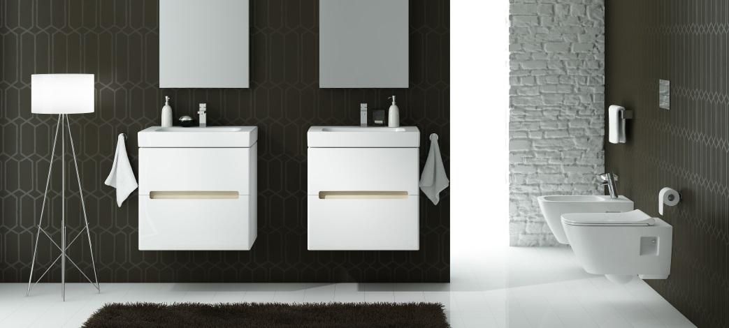 Baie alb-negru cu mobilier si sanitare Kolo Modo