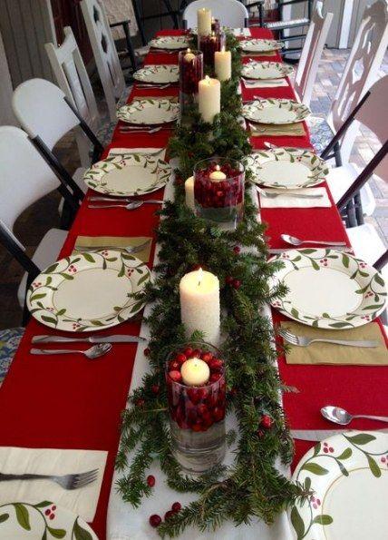 Masa ce Craciun cu ornamente rosii